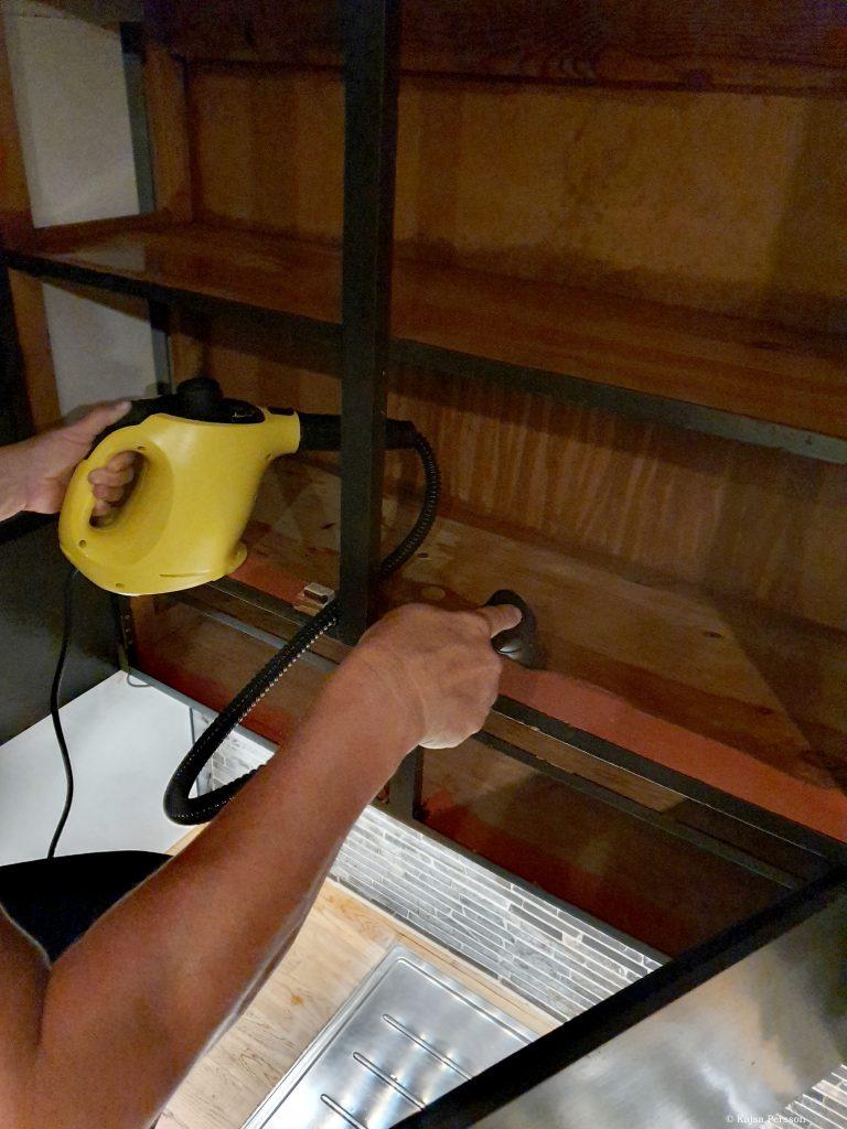 Ångtvätt av köksskåp. Bort med ohyra i köket